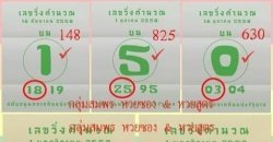 หวยเลขวิ่งคำนวณ 01/11/2558 เลขวิ่งคำนวณ