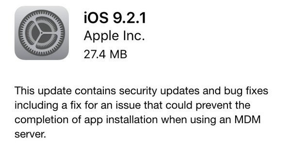 Apple ปล่อยดาวน์โหลด  iOS 9.2.1 สำหรับ iPhone, iPad และ iPod Touch