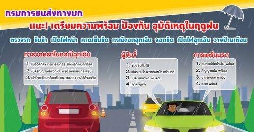 กรมการขนส่งทางบก แนะนำประชาชนเตรียมความพร้อม ป้องกันอุบัติเหตุการจราจรในช่วงฤดูฝน