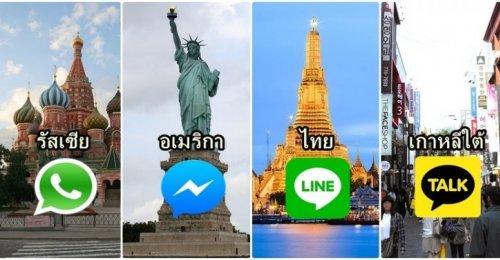เผยแอพฯแชทที่ฮิตมากที่สุดในแต่ละประเทศ!! ไม่น่าเชื่อว่า Line มีเพียง3ประเทศในโลกเท่านั้นที่นิยมใช้!